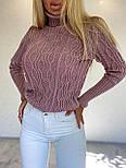 Женский приталенный вязаный свитер полушерстяной с узорами - косами (р. 42-46) 404982, фото 8