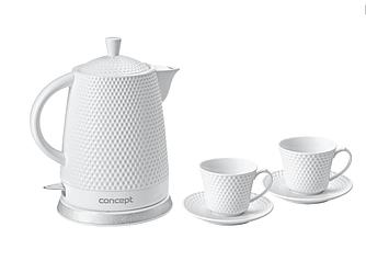 Керамический электрочайник чайник Concept RK-0040 с двумя чашками, 1.5 л, 1500Вт