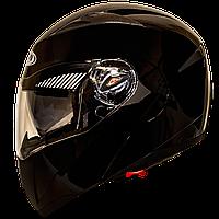 Мотошлем FXW HF-118 solid black шлем трансформер, Flip-Up модуляр с солнцезащитными очками, чёрный глянец