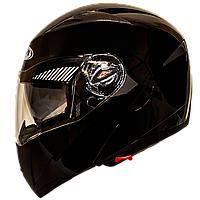 Мотошолом FXW HF-118 solid black шолом трансформер, Flip-Up модуляр з сонцезахисними окулярами, чорний глянець