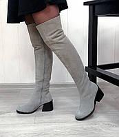 Серые замшевые ботфорты на широком каблуке, фото 1