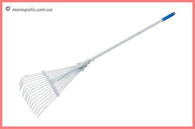 Грабли веерные ТМЗ - 15 прутьев, с ручкой серые