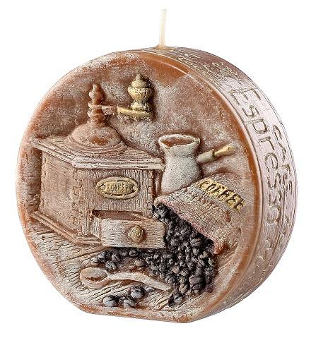 Свеча диск подарочная ароматическая кофе 11.5 см