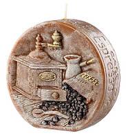 Свеча диск подарочная ароматическая кофе 11.5 см, фото 1