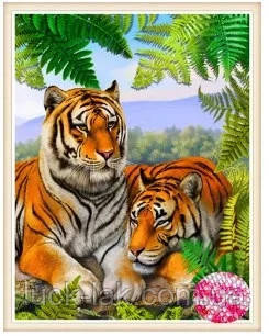 Алмазная вышивка пара тигров 35х45 см, полная выкладка, зеркальные стразы
