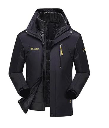 3 в 1 Ветро-Влагозащитная тёплая зимняя куртка+пуховик=парка черный размер 54