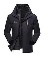 3 в 1 Ветро-Влагозащитная тёплая зимняя куртка+пуховик=парка черный размер 54, фото 1