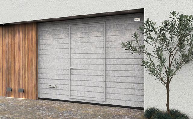 Ворота гаражные секционные Алютех со встроенной калиткой и цифровой печатью Серый бетон