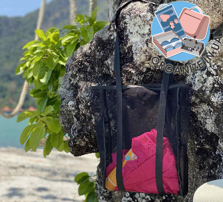 Сумка шоппер для пляжа ORGANIZE (черный)