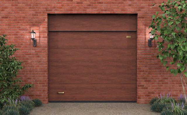 Ворота гаражные секционные Алютех с фальшпанелью и цифровой печатью Винчестер темный