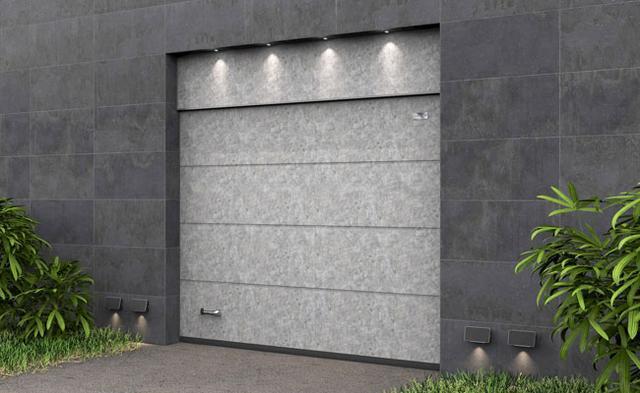 Ворота гаражные секционные Алютех с фальшпанелью и цифровой печатью Серый бетон