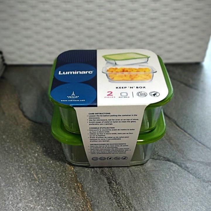 """Набір харчових контейнерів з салатовою кришкою Luminarc """"Keep'nBox"""" 2 шт (P5925)"""