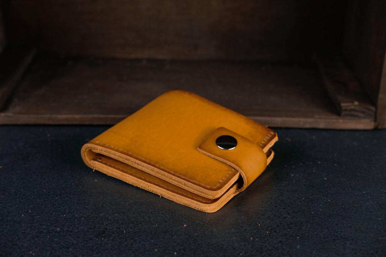 Классическое портмоне с монетницей с застежкой кожа Итальянский Краст цвет Янтарь