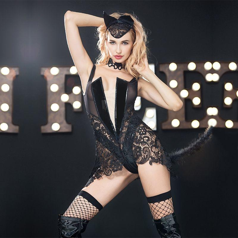 "Эротический костюм кошки ""Страстная Китти"" S/M, боди с глубоким декольте, чулочки, ушки, чокер"