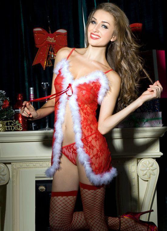 "Новогодний эротический костюм ""Красотка Синди"" S/M, сорочка-пеньюарчик, трусики, чулочки"