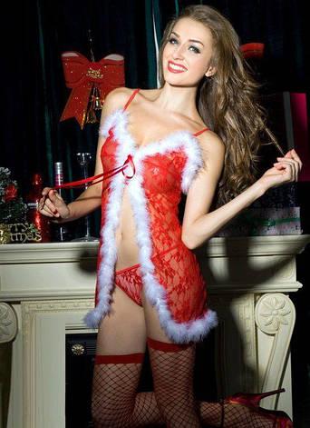 "Новогодний эротический костюм ""Красотка Синди"" S/M, сорочка-пеньюарчик, трусики, чулочки, фото 2"