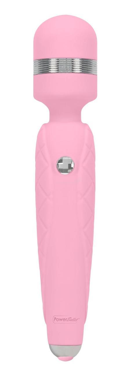 Роскошный вибромассажер PILLOW TALK - Cheeky Pink с кристаллом Swarovsky, плавное повышение мощности
