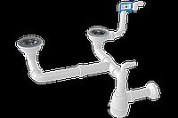 Сифон для мойки NOVA двойной 3 ½ разноуровневый, прямоугольный перелив, выход труба 1194N