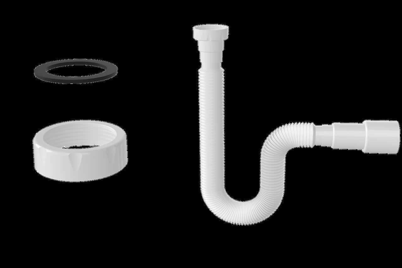 """Гнучка труба з гайкою NOVA 1 ½ """" під плоску прокладку, 780мм, вихід 40*50мм 1315N"""