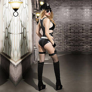 Эротический костюм полицейского Ненасытная Николь S/M, боди, чулки, фуражка, пояс, значок, пистолет, фото 2