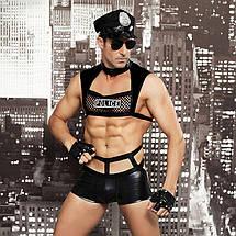 """Мужской эротический костюм полицейского """"Капитан Суровый"""" фуражка, трусы, топ, перчатки, очки, наруч, фото 3"""