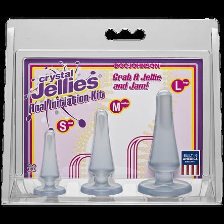 Набор анальных пробок Doc Johnson Crystal Jellies Anal - Clear, макс. диаметр 2см - 3см - 4см, фото 2