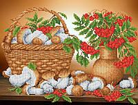 """Схема для вышивки бисером на атласе """"Рябина с грибами"""""""