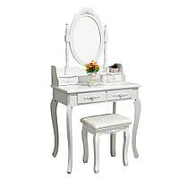 Гримерный туалетный столик косметический дизайнерский для визажа дамский трюмо с зеркалом для спальни