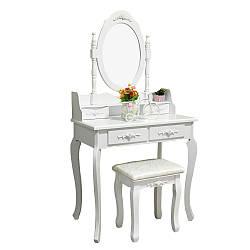 Туалетный Столик косметический женский с стульчиком и зеркалом трюмо в спальню Bonro будуарный столик Белый