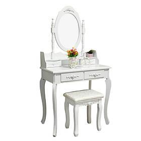 Туалетный Столик косметический со стульчиком трюмо Bonro материал дерево + МДФ Белый