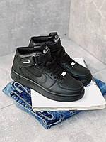 Кроссовки черные Nike Air Force High Black унисекс, фото 1
