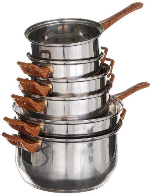 Набір каструль + сковорода. 12 предметів. Нержавіюча сталь, скляні кришки (9035)