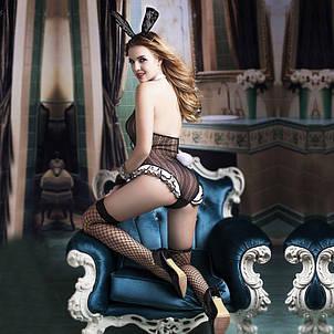 "Эротический костюм зайки ""Непослушная Сьюзен"" S/M, боди, ушки, митенки, чулочки, фото 2"