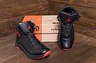 Зимние кроссовки мужские на меху | Мужские зимние кожаные кроссовки Jordan Black leather | Кроссовки теплые, фото 6