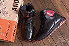 Зимние кроссовки мужские на меху | Мужские зимние кожаные кроссовки Jordan Black leather | Кроссовки теплые, фото 10