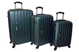 Набор дорожных чемоданов на колесах Siker Line набор 3 штуки Изумрудный