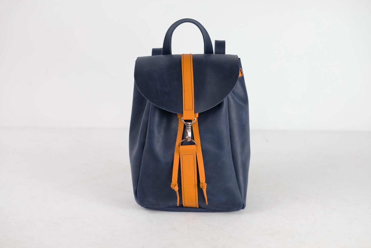 Рюкзак на затягуваннях з карабіном, розмір середній Вінтажна шкіра колір Синій + Бурштин