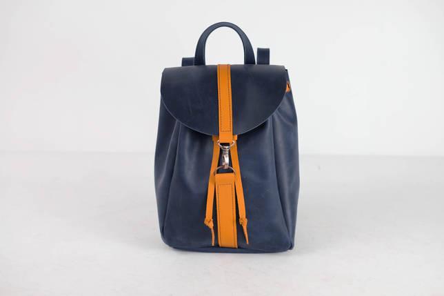 Рюкзак на затягуваннях з карабіном, розмір середній Вінтажна шкіра колір Синій + Бурштин, фото 2