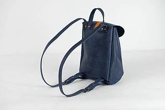 Рюкзак на затягуваннях з карабіном, розмір середній Вінтажна шкіра колір Синій + Бурштин, фото 3