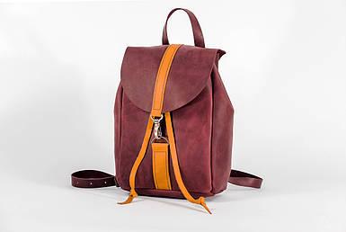 Жіночий шкіряний рюкзак Київ, розмір міні, натуральна Вінтажна шкіра колір Бордо + Бурштин