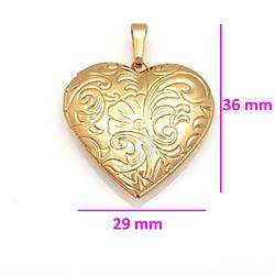 Кулон медзолото, Медальон Сердце с цветочным орнаментом, без камней