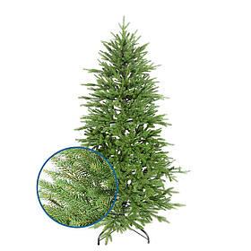 Штучна засніжена ялинка новорічна лита хвоя 210 см пухнаста розбірна з підставкою 25% PE, 75 % ПВХ