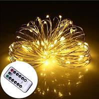 Светодиодная гирлянда LTL нить капля росы 100 led, 10 метров c пультом желтая Yellow, батарейки, фото 1