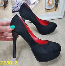 Туфли черные замшевые на шпильке с платформой SL-2230-2, фото 3