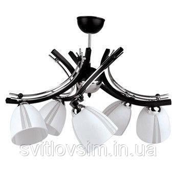 Світильник підвісний Glimex, Люстра Польща, 5 плафонів, білий (скло)