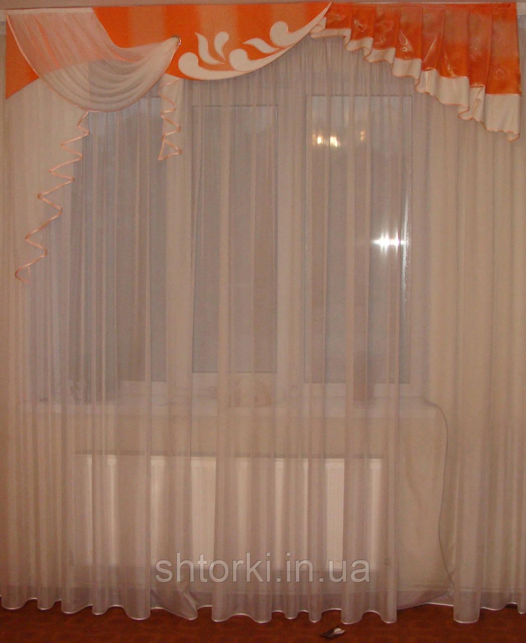 Жесткий ламбрекен Вензель 2м оранж с персиком