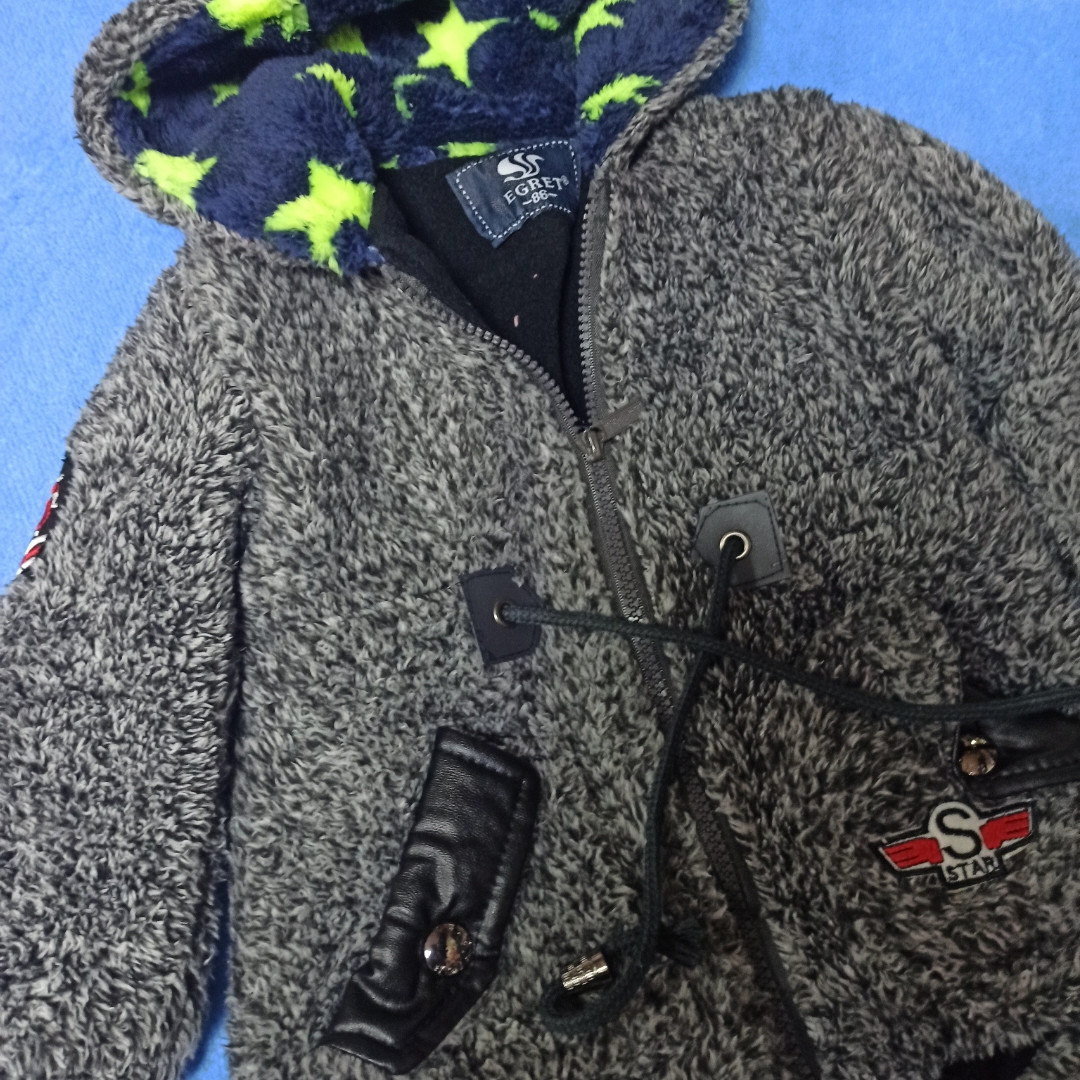 Толстовка меховая  для мальчика на флисе с капюшоном.