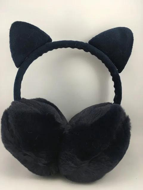 Меховые наушники Котик с ушками черные