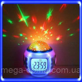 Музыкальные часы с будильником, проектор Звездное небо