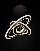 Светодиодная люстра на три подвесных кольца черный 130 ватт, фото 1